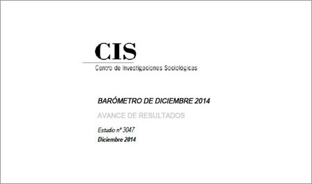 Barómetro CIS: resultados diciembre 2014