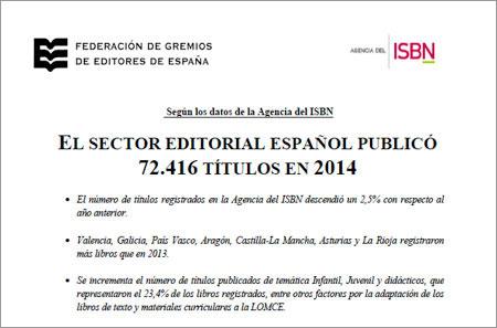 El sector editorial español publicó 72.416 títulos en 2014
